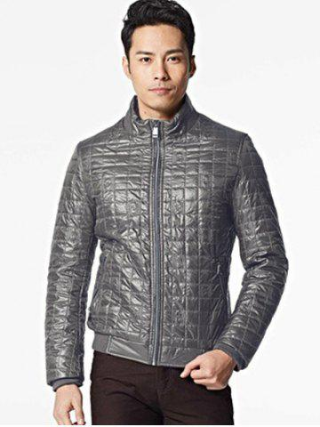 Latest Geometric Zip Up Padded Jacket ODM Designer - 2XL BROWN GREY Mobile