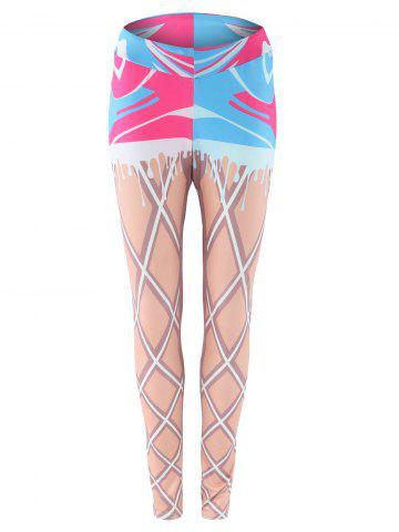 Best Elastic Waist Print Skinny Gym Leggings COLORMIX XL