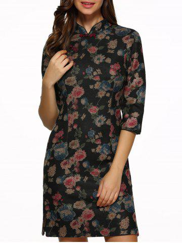 New Vintage Embroidered Floral Qipao Dress