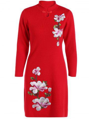 Discount Embroidered Knitted Qipao Dress
