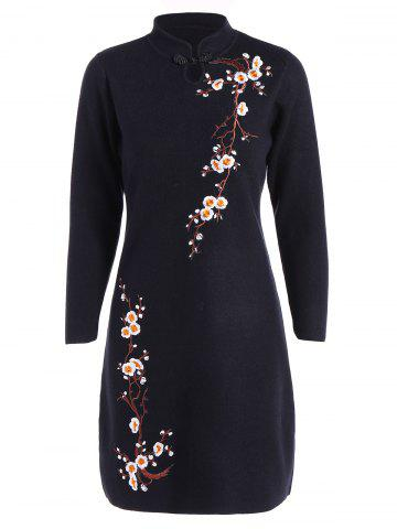 Shop Embroidered Knitted Cheongsam Dress
