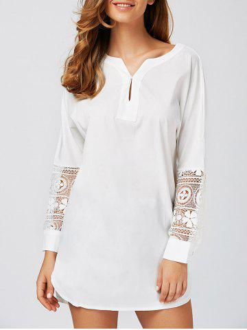Fashion Lace Spliced High Low Long Shirt