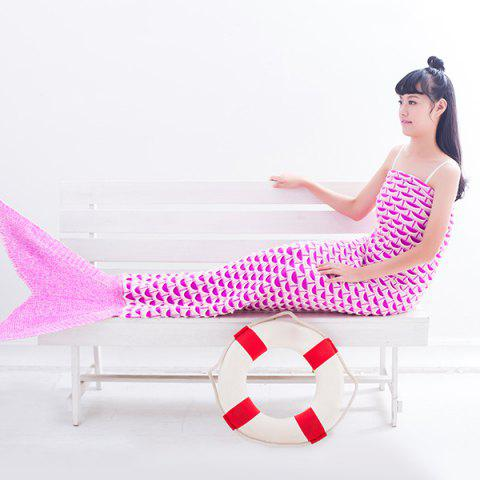 Latest Warmth Fish Scale Pattern Wrap Mermaid Tail Blanket LIGHT PINK