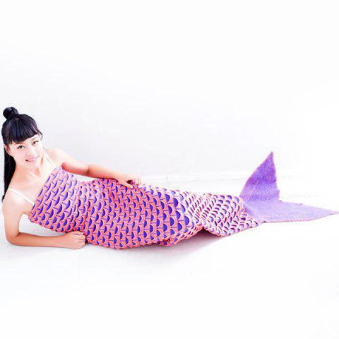 Outfit Warmth Fish Scale Pattern Wrap Mermaid Tail Blanket - ORANGEPINK  Mobile