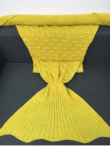 Cheap Fish Scale Knitted Sofa Wrap Mermaid Blanket - YELLOW  Mobile