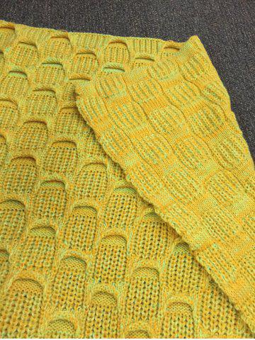 Latest Fish Scale Knitted Sofa Wrap Mermaid Blanket - YELLOW  Mobile