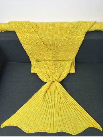 Sale Fish Scale Knitted Sofa Wrap Mermaid Blanket - YELLOW  Mobile