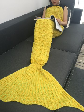 Hot Fish Scale Knitted Sofa Wrap Mermaid Blanket - YELLOW  Mobile