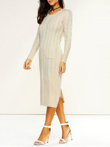 Hot Longline Jumper Dress with Pockets OFF-WHITE ONE SIZE