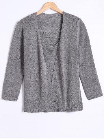 Cheap Long Sleeve Cardigan With Knitted Tank Top