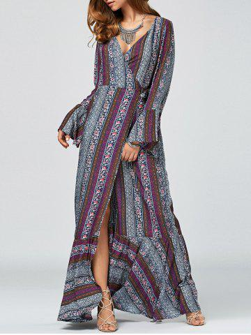 Latest Bell Sleeve Tribal Print Maxi Swing Wrap Dress