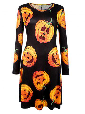 New Halloween Pumpkin Print Long Sleeve Dress BLACK XL