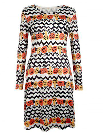 Chic Long Sleeve Halloween Pumpkin Print Dress WHITE XL