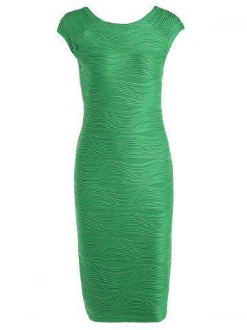 Outfit Textured Shadow Knee Length Stripe Bodycon Dress GREEN S