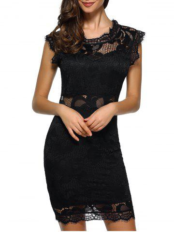 Shop Openwork Bodycon Lace Dress