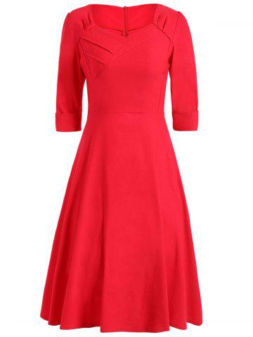 Hot Vintage Sweetheart Neck High Waist Dress RED 2XL
