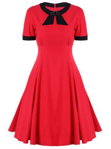 Best Retro High Waist Buttoned Contrast Color Dress RED 2XL