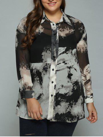 Chic Plus Size Ink Painting Sheer Shirt