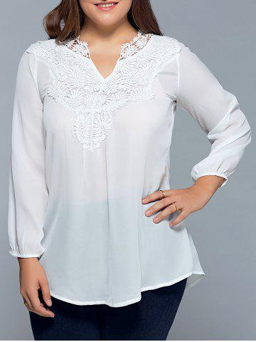 Hot Plus Size Lace Insert Chiffon Blouse WHITE 5XL
