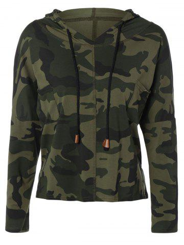 Best Pocket Drawstring Army Camouflage Hooded T-Shirt ARMY GREEN L