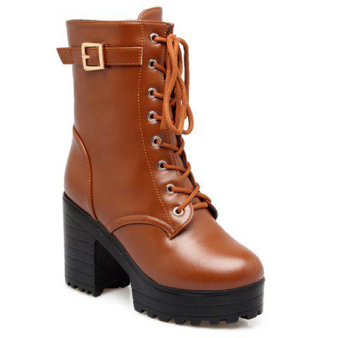 Chic Buckle PU Leather Chunky Heel Lace-Up Boots LIGHT BROWN 39