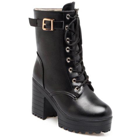 Shops Buckle PU Leather Chunky Heel Lace-Up Boots