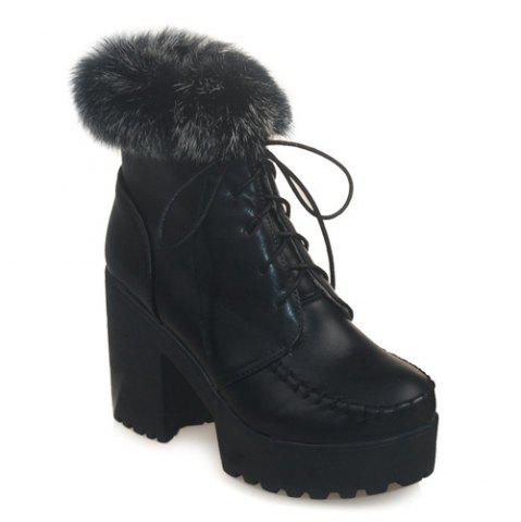 Lace-Up Faux Fur Chunky Heel Boots - Black - 42