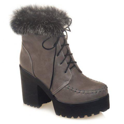 Discount Lace-Up Faux Fur Chunky Heel Boots GRAY 39