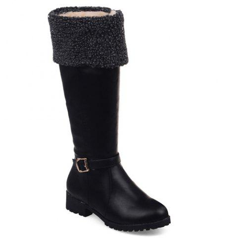 Buy Buckle Faux Shearling Mid-Calf Boots BLACK 43