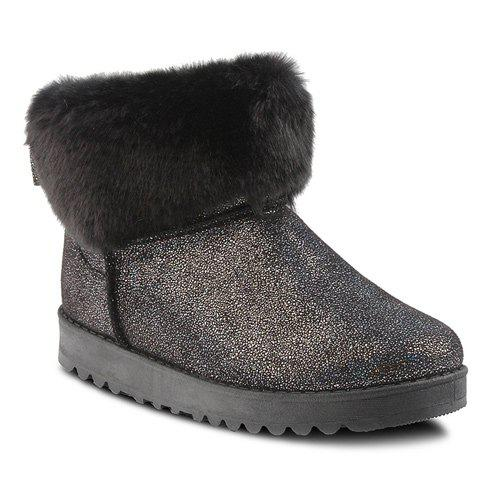 Fancy Sequin Bow Faux Fur Snow Boots