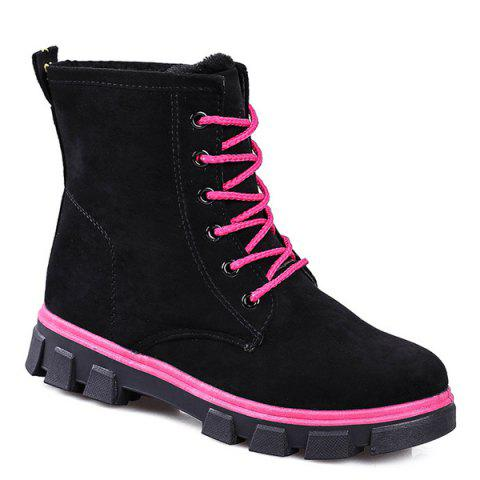 black flat heel lace up snow boots rosegal