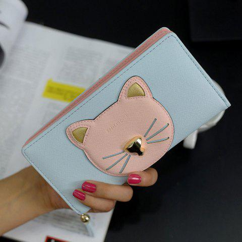 Color Block Cat Head Motif Clutch Wallet Bleu