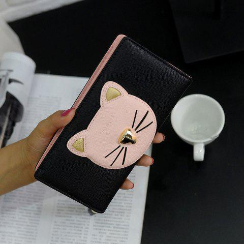 Color Block Cat Head Motif Clutch Wallet Noir