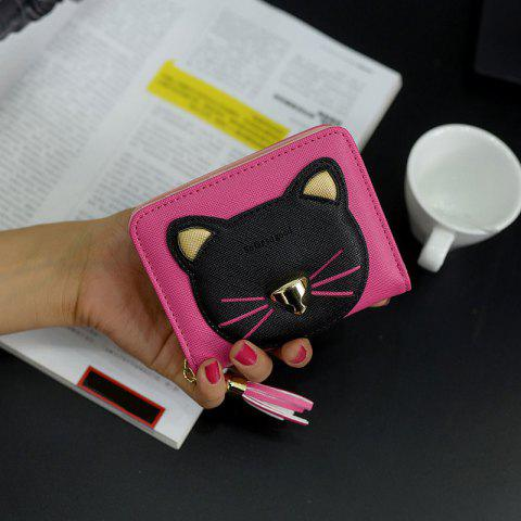 Discount Cat Head Pattern Tassels Bi-Fold Mini Wallet - ROSE RED  Mobile