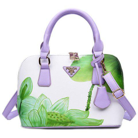 Fashion Floral Printed Handbag GREEN