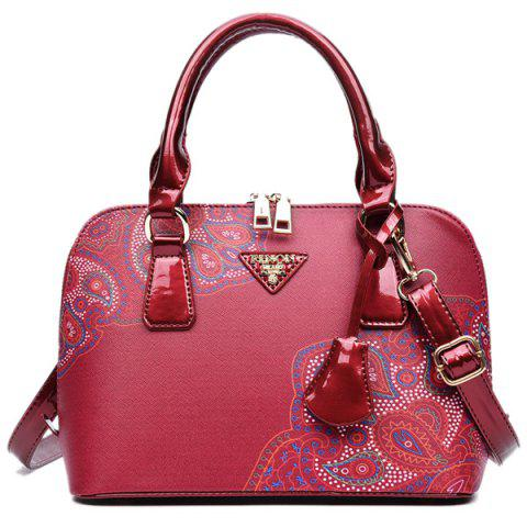 Chic PU Leather Pendant Tribal Printed Tote - RED  Mobile