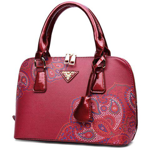 Trendy PU Leather Pendant Tribal Printed Tote - RED  Mobile