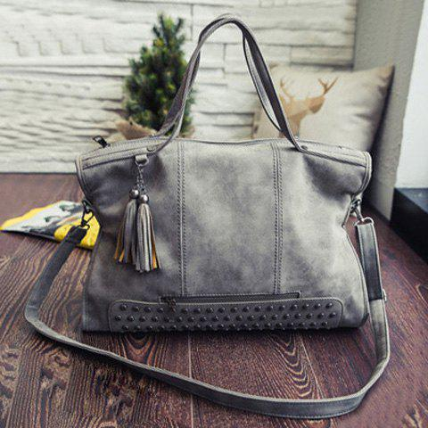 Chic Tassel Rivet PU Leather Tote Handbag