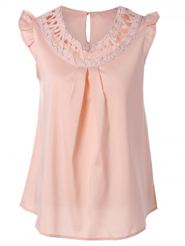 Best Cut Out Ruffled Ruched Tank Top