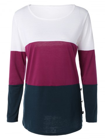 Shops Buttoned Color Block T-Shirt