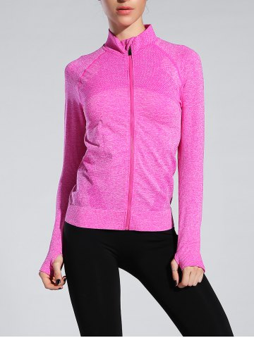 Hot Space-Dyed Zip Slim Sporty Running Jacket ROSE RED L