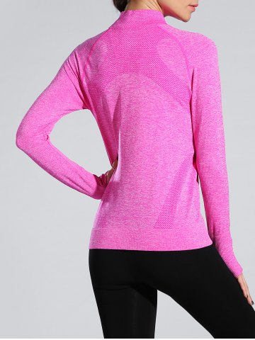 Discount Space-Dyed Zip Slim Sporty Running Jacket - ROSE RED M Mobile