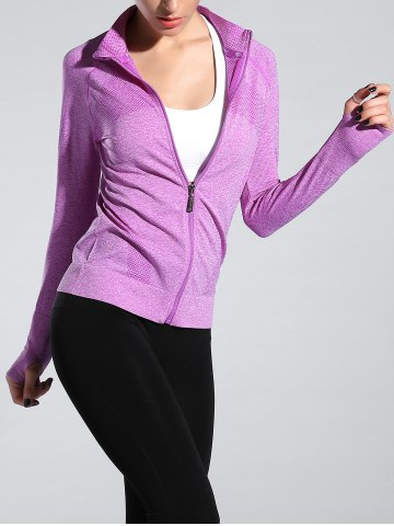 Outfits Space-Dyed Zip Slim Sporty Running Jacket - LIGHT PURPLE M Mobile