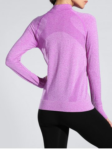 Trendy Space-Dyed Zip Slim Sporty Running Jacket - LIGHT PURPLE M Mobile