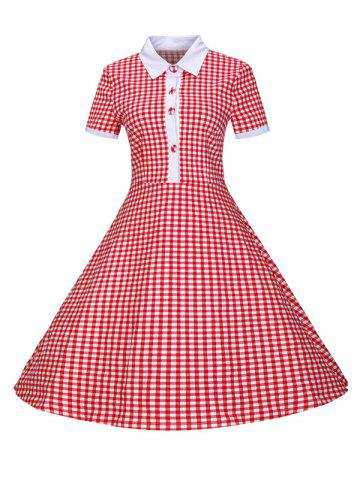 Shop Plaid Buttoned 1940s Swing Dress RED 2XL