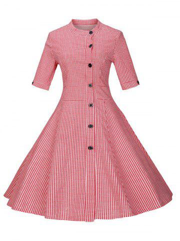 Cheap Plaid Buttoned Swing Dress