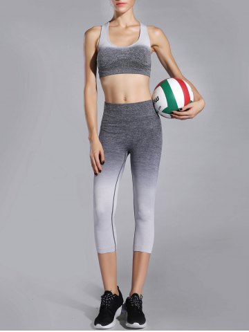 Fashion Racerback Bra and Stretchy Ombre Leggings Suit