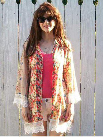 Outfits Collarless Long Sleeve Laciness Floral Kimono Blouse