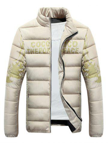 Stand Collar Tiger and Graphic Print Zip-Up Down Jacket - Apricot - L