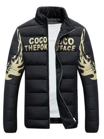 Best Stand Collar Tiger and Graphic Print Zip-Up Down Jacket